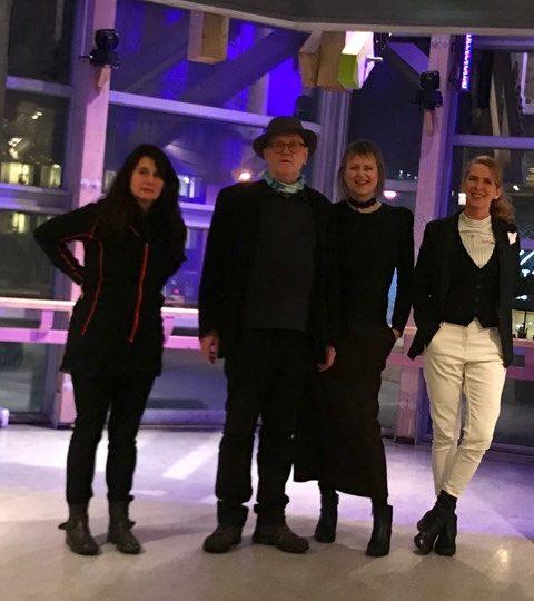 Nordlysfestivalutstillingen 2018 , kunstnere ( fra venstre) Myriam Borst, Thor Erdahl, Jenny-Marie Johnsen og kurator Kristin Josefine Solstad/KsN